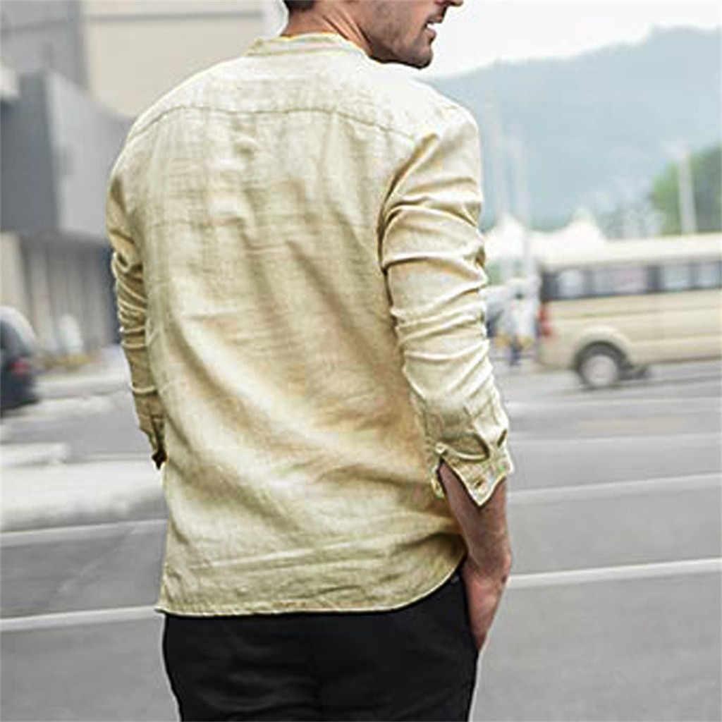 JAYCOSIN 남성 셔츠 패션 캐주얼 빈티지 퓨어 컬러 버튼 리넨 느슨한 솔리드 긴 소매 레트로 클럽 셔츠 탑스 블라우스 #45