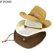 Lato 2021 naturalna słoma ręcznie szydełkowa czapka oddychająca zachodnia kowbojska czapka plażowa na zewnątrz Cowgirl podróżny kapelusz przeciwsłoneczny tanie tanio IF IFOND CASUAL Unisex Papier Wielofunkcyjne Na wiosnę i lato CN (pochodzenie) Dla osób dorosłych Na co dzień Spring2021