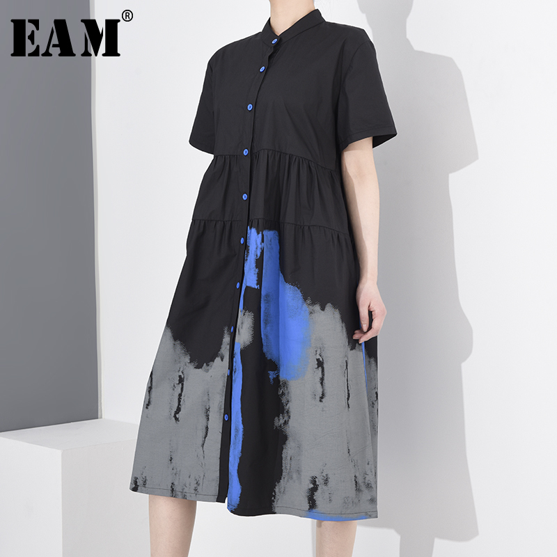 [EAM] Women Black Pattern Printed Stitch Shirt Dress New Stand Collar Short Sleeve Loose Fit Fashion Spring Summer 2020 1T45101