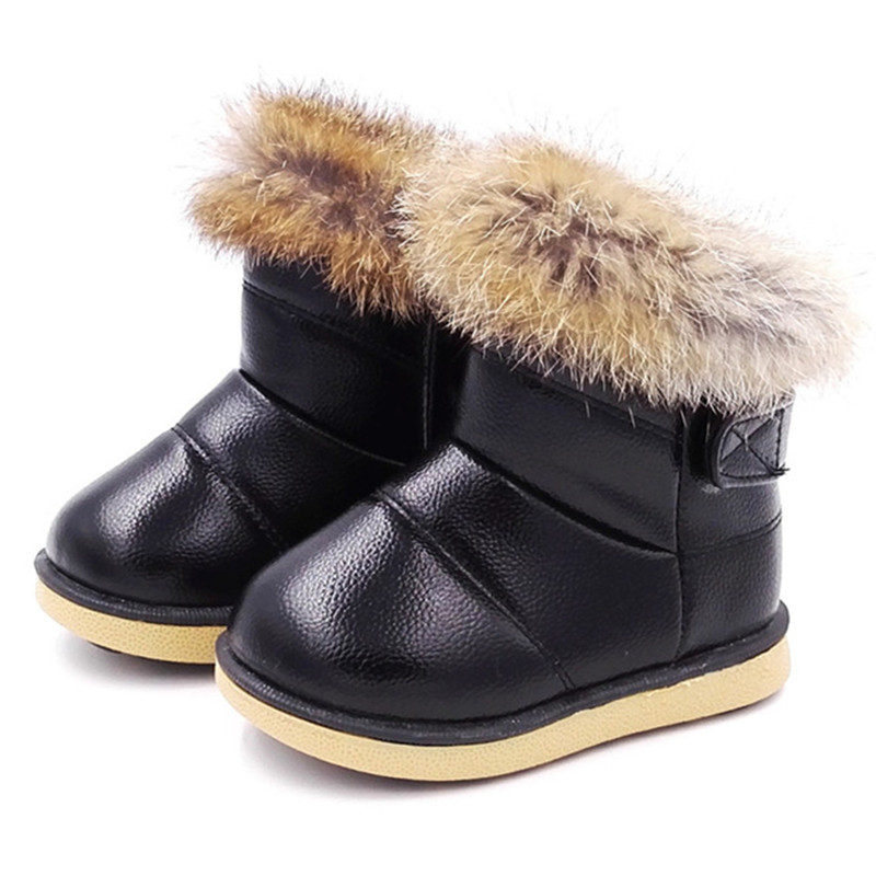 Baby Winter Boots Hard Sole Outdoor Infant Girls Baby Boys Snow Boots Kids Warm Plush Rabbit Fur Shoes Children Winter Boot