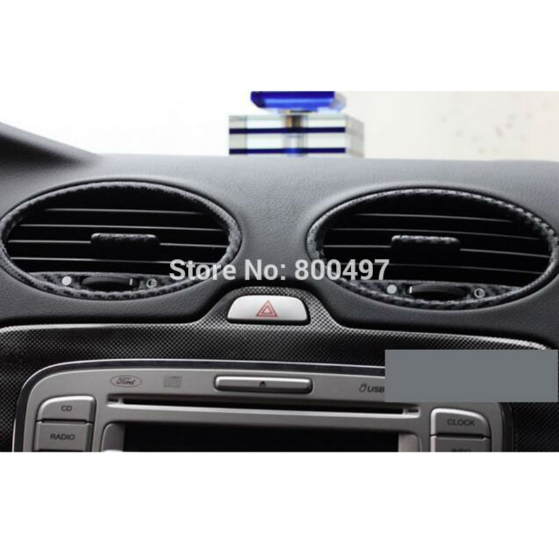 Image 3 - New Car Styling Car Accessory Covers Air condition Vents Carbon Fiber Vinyl Sticker Decorative Decal for Ford Focus MK2-in Car Stickers from Automobiles & Motorcycles