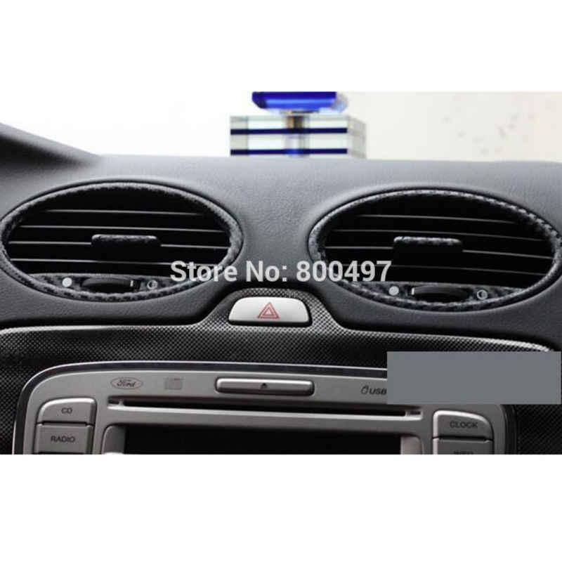 Nouvel accessoire de voiture de style couvre les évents de climatisation en Fiber de carbone autocollant en vinyle autocollant décoratif pour Ford Focus MK2