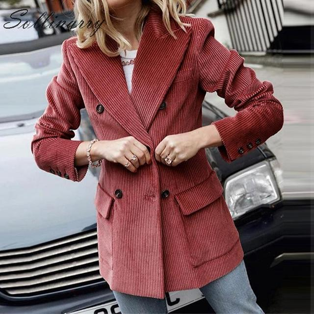 Sollinarry Double Breasted Fashion Coats Jackets Women Autumn Winter Red Corduroy Jackets Elegant Feminine OL Slim Outwear Retro