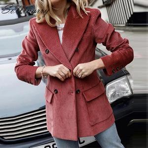 Image 1 - Sollinarry, двубортные модные пальто, куртки для женщин, осень, зима, красные вельветовые куртки, элегантные, женские, OL, тонкая верхняя одежда, Ретро стиль