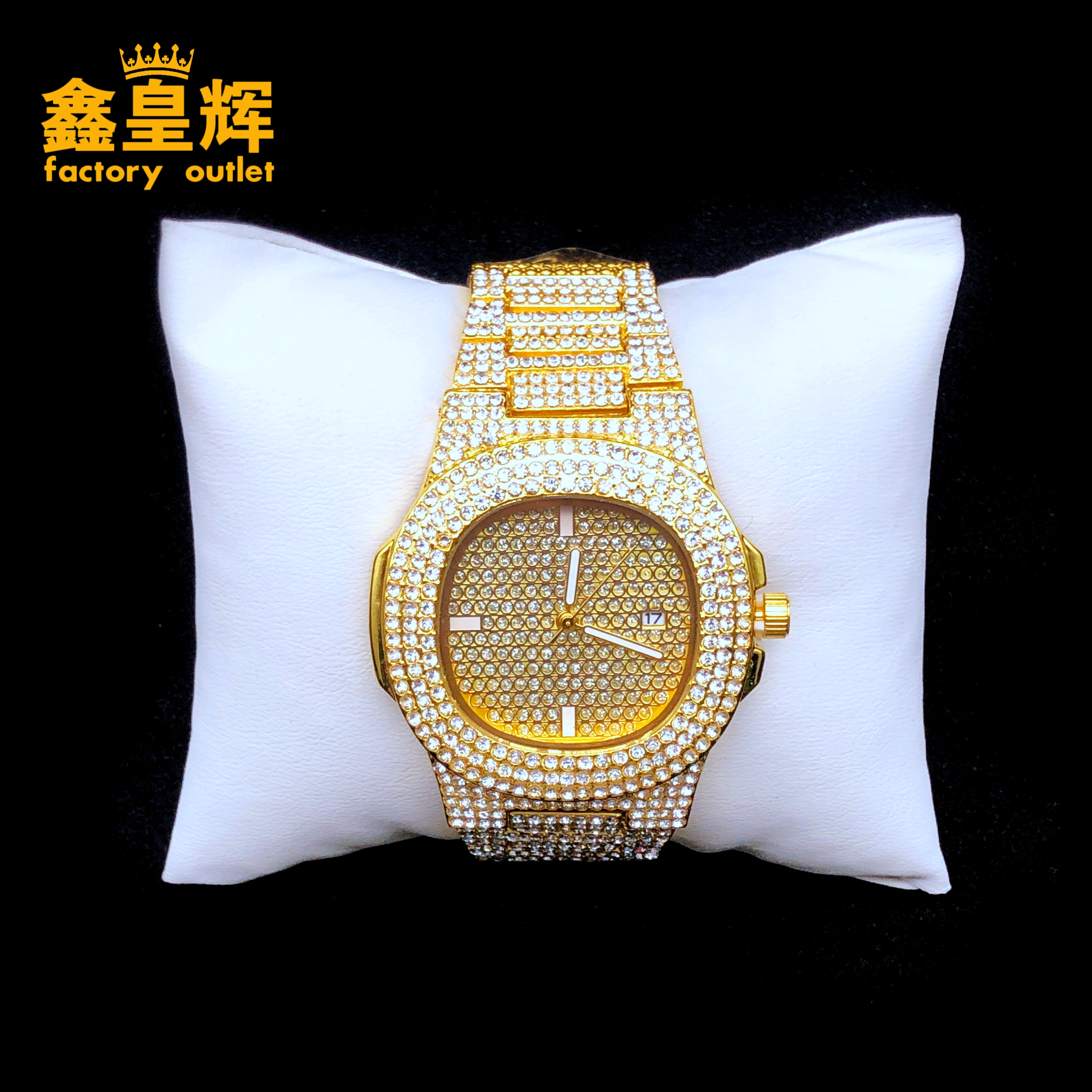 Luxury Hip Hop Fashion Men's And Women's Silver Diamond Watch  Accessories Diamond Gold And Silver Two Color Watch Accessories