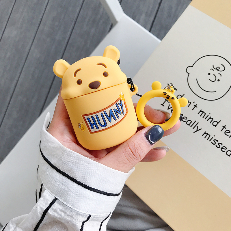 Airpods 2 Case Cartoon Bear Silicone Cover for Apple Airpods Cute Earphone Case Headphone Case Lanyard for Airpods Accessories