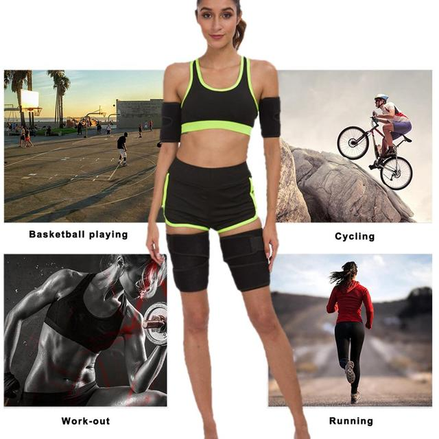 Neoprene Leg Shaper Sauna Sweat Thigh Trimmers Calories Off Anti Cellulite Slimming Legs Fat Thermo Compress Belt Face Lift 5