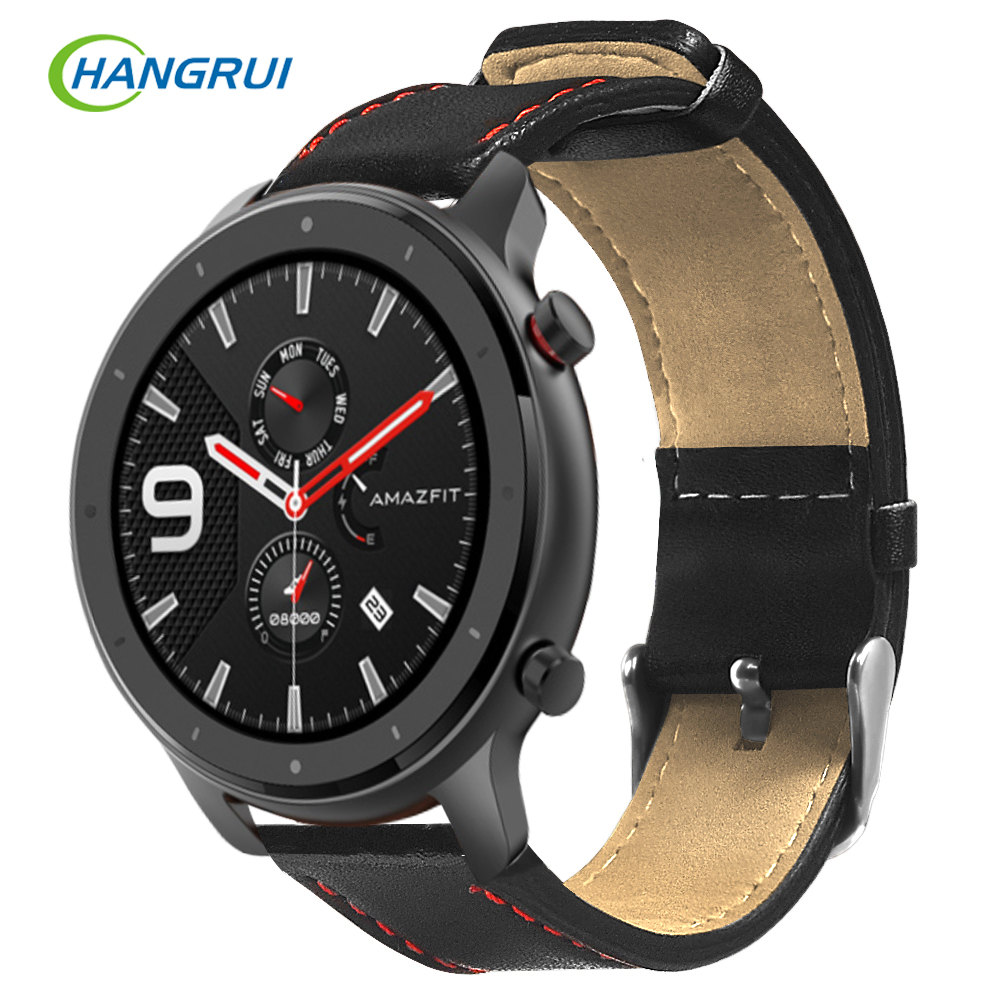 22mm Watch Strap For Xiaomi Huami Amazfit GTR 47mm Strap Smart Watch Leather Sweat-proof Sport Wristband For Amazfit GTR 47mm
