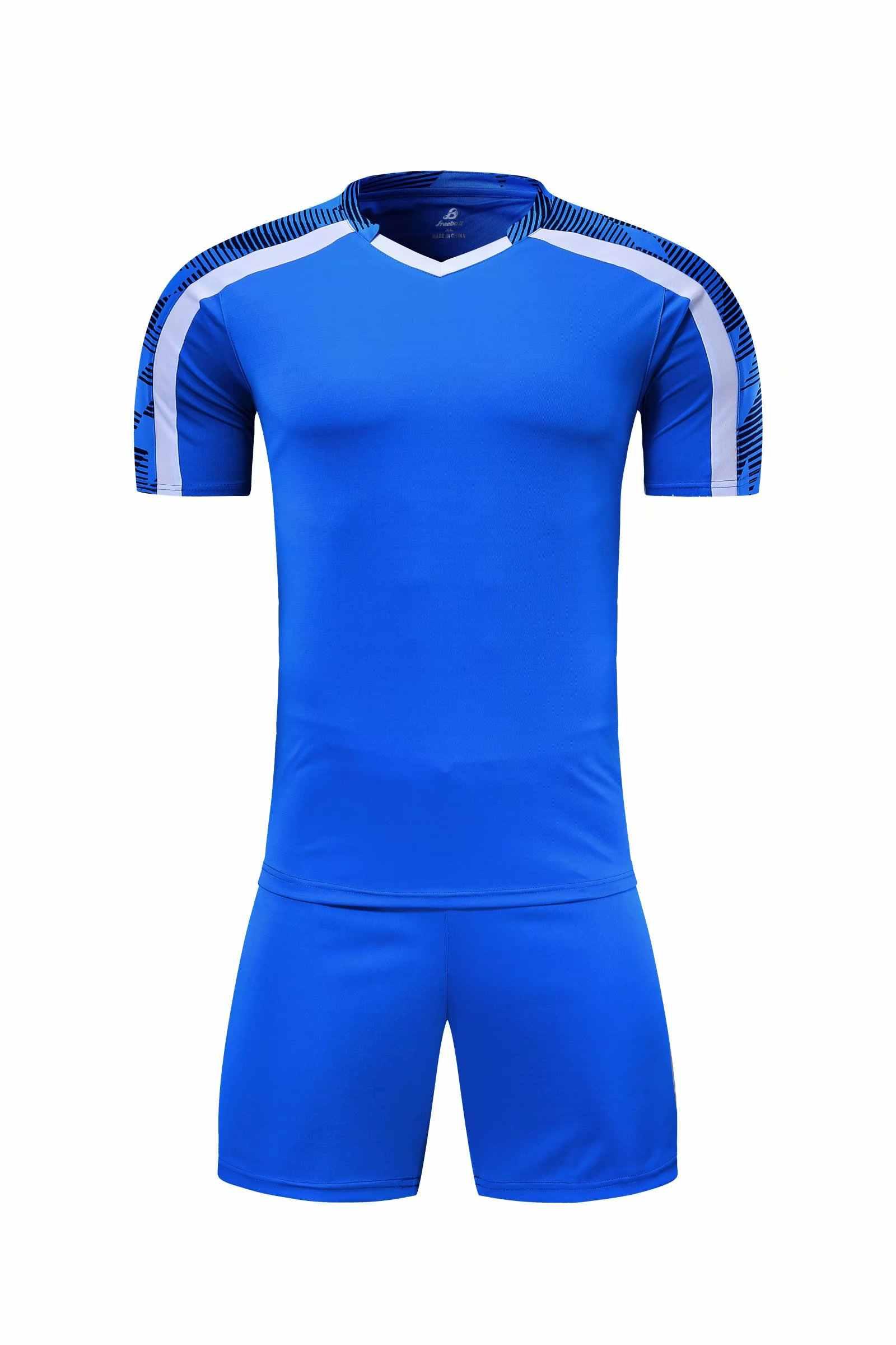 남자 짧은 소매 빨간 축구 유니폼 세트 녹색 축구 유니폼 블루 키즈 축구 셔츠 사용자 정의 이름 번호