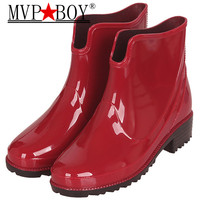 2020 New Waterproof Trendy Jelly Women Boot Elastic Band Rainy Shoes Woman Rubber Boots for Women PVC Ankle Rain Boots