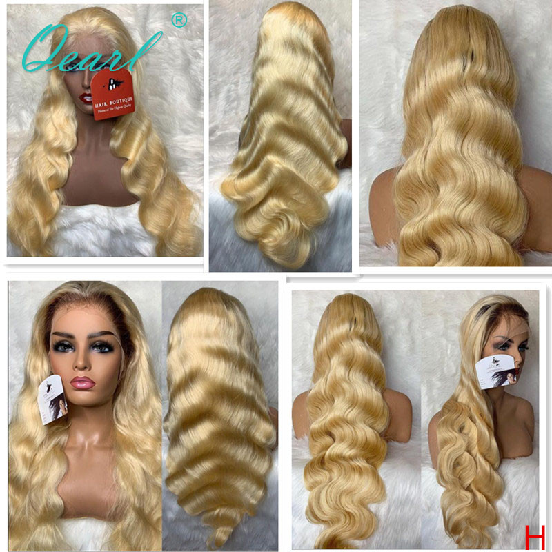 Ombre 4/613 Human Hair Lace Front Wig Body Wave 613 Blonde Lace Wigs Remy Hair 13x4 Free Part 130% 150% Preplucked Qearl