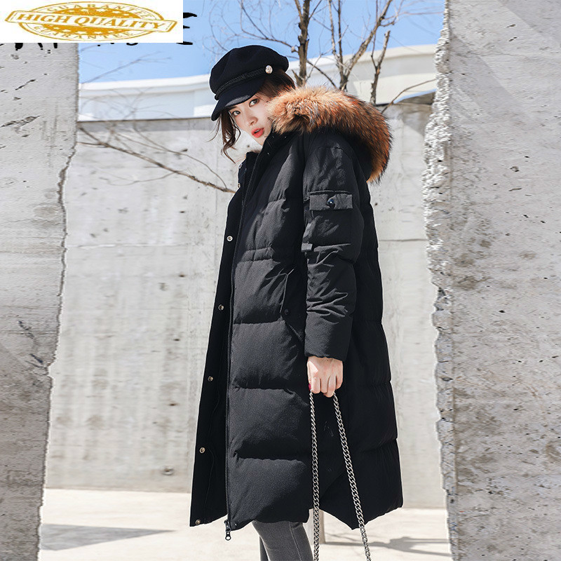 Jacket Women White Duck Down Coat Long Winter Down Jacket Women Korean Hooded Puffer Jacket Chaqueta Mujer 6812 YY1317