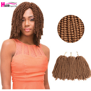 8Inch Spring Twist Crochet Hair Synthetic Twist Braids Hair Ombre Braiding Hair Extensions Afro Fluffy 30Roots Hair Expo City