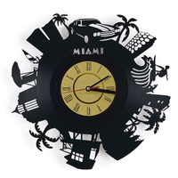 Miami City Vinyl Record Wall Clock Modern Design Trees And Plants 3D Decoration Hanging Clocks Wall Watch Home Décor YC5348