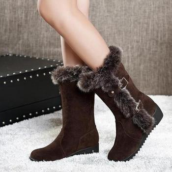 Women's Autumn/Winter Mid-Calf Fur Boots