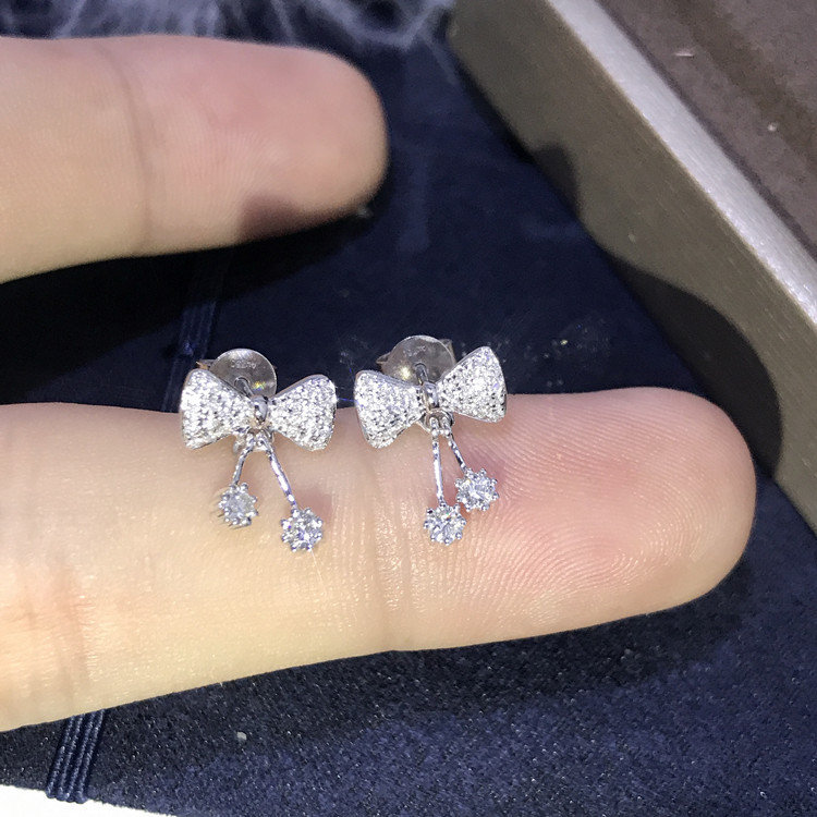 Купить с кэшбэком Bling Zircon Stone SS925 Silver Color Bowknot Cute Stud Earrings for Women Fashion Jewelry 2020