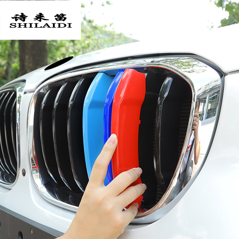 Car Styling For <font><b>BMW</b></font> <font><b>X3</b></font> x4 f25 f26 <font><b>g01</b></font> g02 Accessories Head Front Grille For M Sport Stripes Grill Covers Cap Frame Auto Stickers image