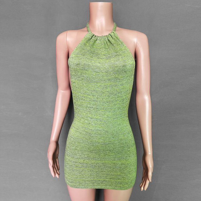 Women Halter Backless Dress 2021 Summer Hollow Out Sleeveless Knitted Dress Sexy Club Bodycon Mini Party Dresses Beach Wear Hot 6