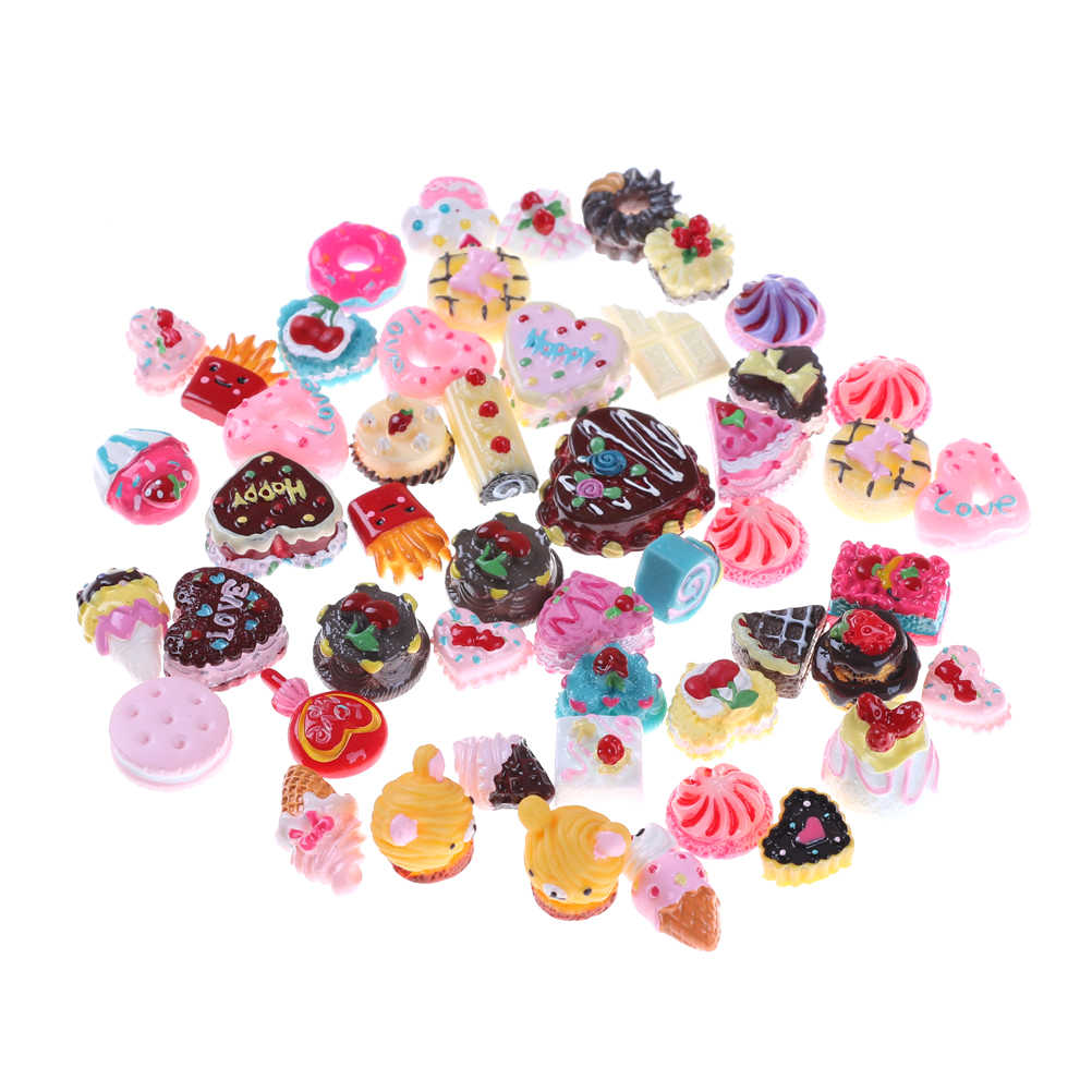 10Pcs DIY Mini Play Food Cake Biscuit Donut Cake Doll Miniature Pretend Toy Rainbow Coffee Cup Polymer Slime Charm Modeling Clay
