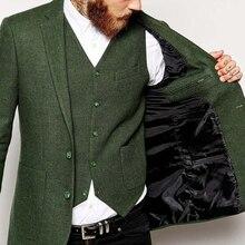 Новейший дизайн пальто брюки зеленый твидовый мужской костюм Свадебные костюмы для мужчин Terno индивидуальный костюм смокинг 3 предмета Блейзер Masculino
