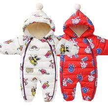 Śpioszki dla niemowląt kombinezony ubrania zimowe chłopiec dziewczyna odzież zagęścić ciepłe czystej bawełny odzież wierzchnia płaszcz kurtka dzieci odzież na śnieg kurtka dziecięca tanie tanio bibihou Europejskich i amerykańskich style COTTON Baby rompers Overalls Clothes Pasuje prawda na wymiar weź swój normalny rozmiar