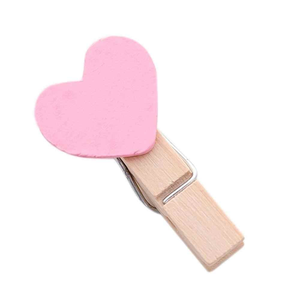 20pc Mini słodkie serce miłość drewniane ubrania papier fotograficzny Peg Pin Clothespin Craft pocztówka klipy Home dekoracje ślubne