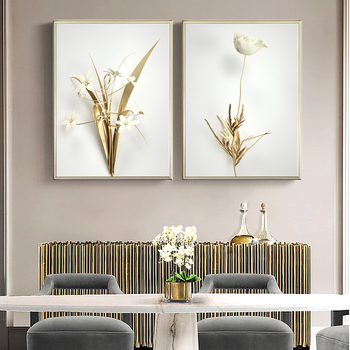 Luxury Golden Plant Leaves Canvas Painting Modern Style Minimalist Wall Art 1
