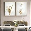 Роскошная Картина на холсте с изображением золотых растений в современном минималистичном стиле, настенное искусство, картины для коридор...