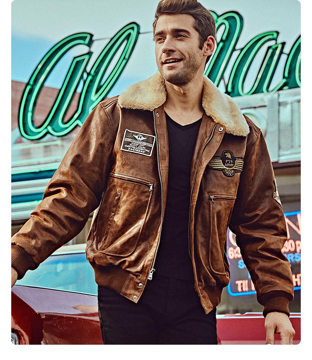 H305452c75a154849ae35531a1c5b8f302 FLAVOR New Men's Real Leather Bomber Jacket with Removable Fur Collar Genuine Leather Pigskin Jackets Winter Warm Coat Men
