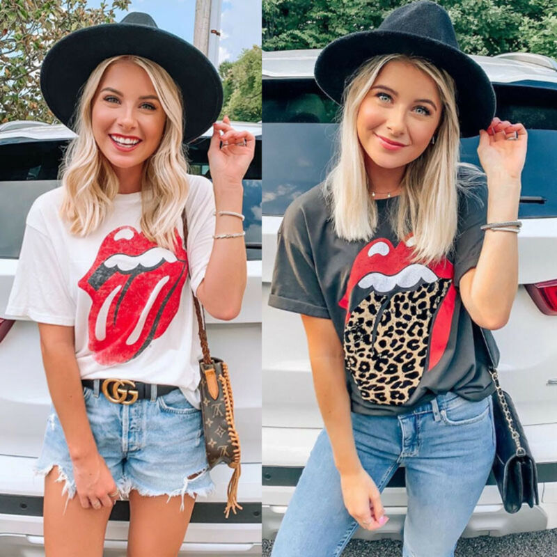 Women Letter Leopard Print T-Shirts Summer Casual Short Sleeve Tops Tee O Neck Casual Loose Womens Black White Tshirt Femme