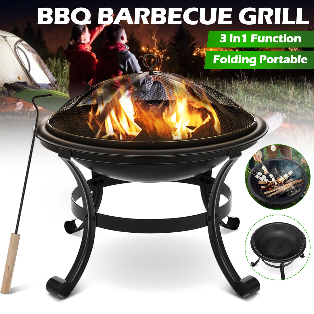 22 Inch Steel Fire Pit Wood Burning Fire Pit for Outdoor Camping Campfire Beach Park Courtyard Party Barbecue Supplies BBQ Pot