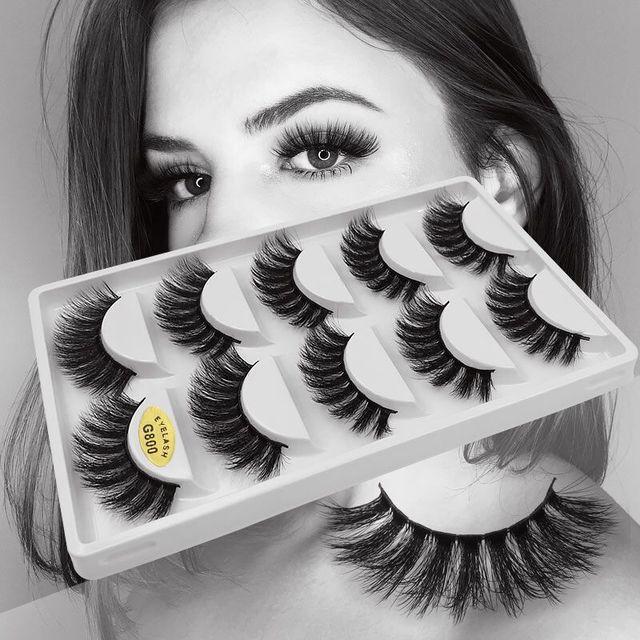 5 Pairs Multipack 3D Mink Lashes False Eyelashes Handmade Wispy Fluffy Long Lashes Natural Eye Makeup Tools Faux Eye Lashes G800 6
