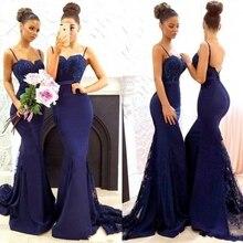 Navy Blue Beaded Lace Bridesmaid Dresses 2020 Spaghetti Stra