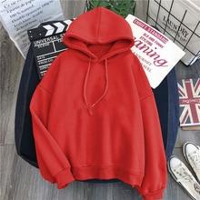 Winter red coat Women Hoody Sweatshirt Solid color Harajuku