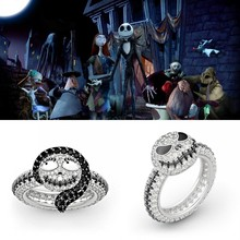 The Nightmare Before Christmas Ring Sally Jack Skellington Enamel Ring Jewelry Crystal Ring Gift(China)