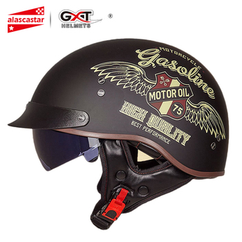 GXT Retro Motorcycle Helmet Vintage Casco Moto Helmet Open Face Scooter Motorbike Racing Riding Helmet With DOT Certification