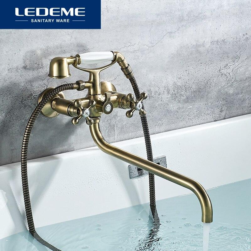 LEDEME Bathtub Faucets Telephone Style Dual Handle Mixer Taps Bathroom Bath Outlet Nozzle Shower Faucet With Hand Shower L2619C