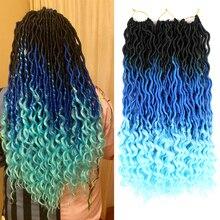 Hair-Extensions Crochet-Hair Faux-Locs Braiding Goddess Wavy Black Synthetic Blue Bellqueen