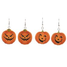 Women  Style Persoanlity Halloween Party Pumpkin Shape Concise Acrylic Dangle Earrings