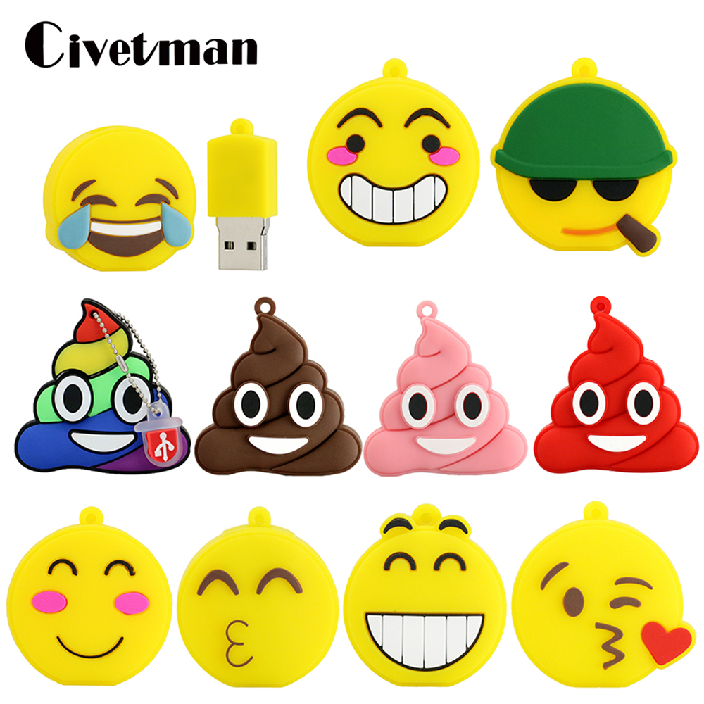 Pendrive Cartoon Cute Emotion Face Expression 4GB 8GB 16GB 32GB 64GB 128GB USB Flash Drive 2.0 Flash Memory Stick 256G Pen Drive