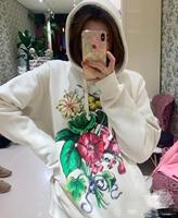 Pink / Beige Hot Sale Hoodies Sweatshirts 2020 Women Casual Kawaii Floral Print Fashion Punk for Girls Clothing European Tops