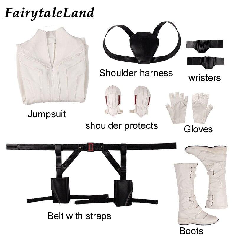 Us 29 71 17 Off 2020 Film Cosplay Black Widow White Costume Adult Halloween Costumes For Women Natasha Romanoff White Suit Sexy Jumpsuit In Movie