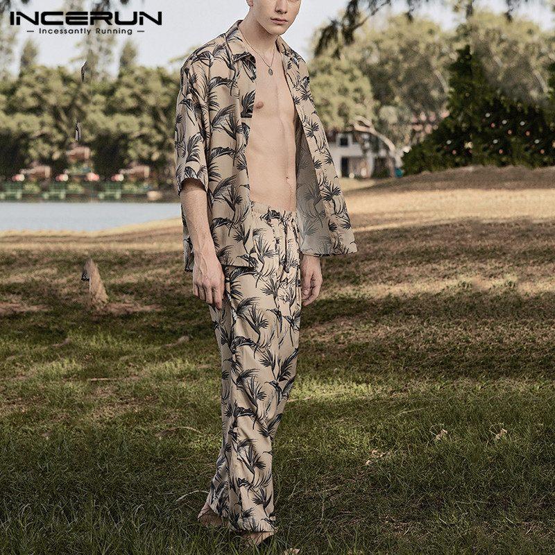 INCERUN Men Pajamas Sets Printing Leisure Short Sleeve Tops Homewear Loose Pants Fashion Nightgown Men Sleepwear Suit Plus Size