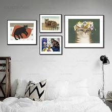 Ретро Европейская кошка милые цветы для домашних животных декоративная