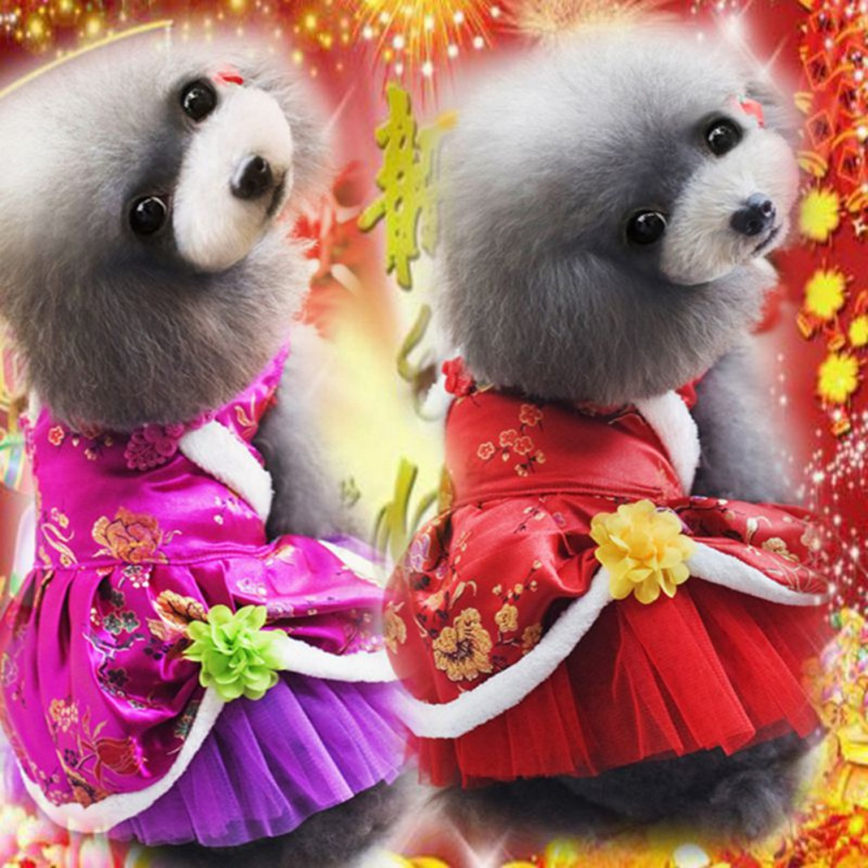 <font><b>dog</b></font> <font><b>dress</b></font> Autumn and winter pet Chinese style Princess <font><b>Dress</b></font> satin tutu skirt Tang skirt rose flower random color <font><b>XXL</b></font> image