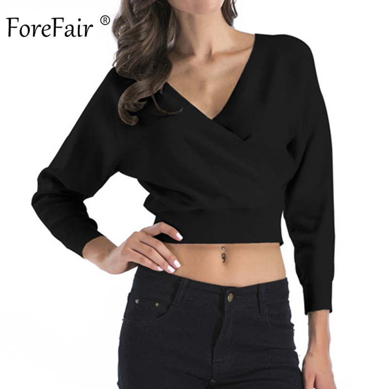 Forefair Short Sexy Sweater Women Autumn 2019 Long Sleeve Cropped Solid Pullovers Knitted Cross White Orange V Veck Sweater