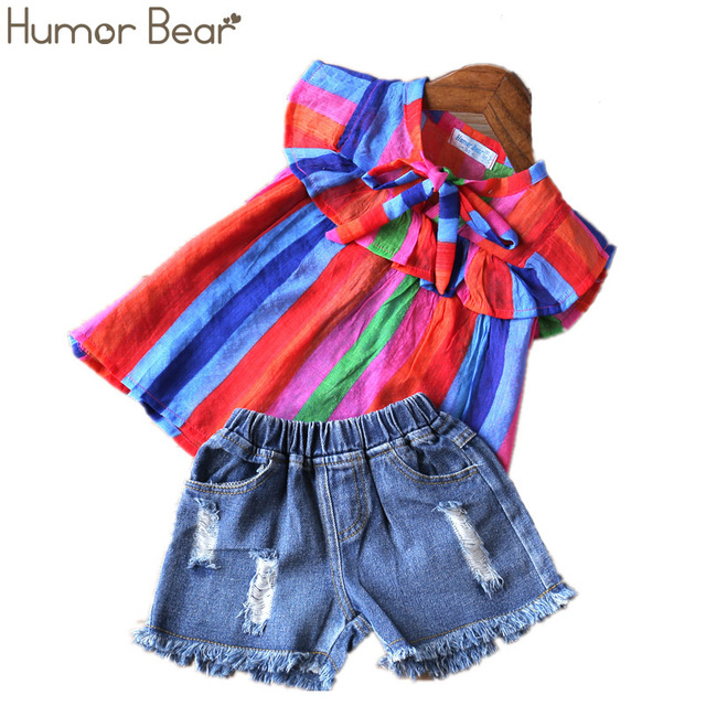 Humor Bear Baby Girls Clothes 2019 Summer New Children Clothse Baby Girls multicolor Coat+Shorts Suit Toddler Girls Clothing 3