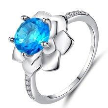 Criativo flor anéis para mulheres luxo feminino azul cristal anel jóias senhoras festa de casamento jóias presentes