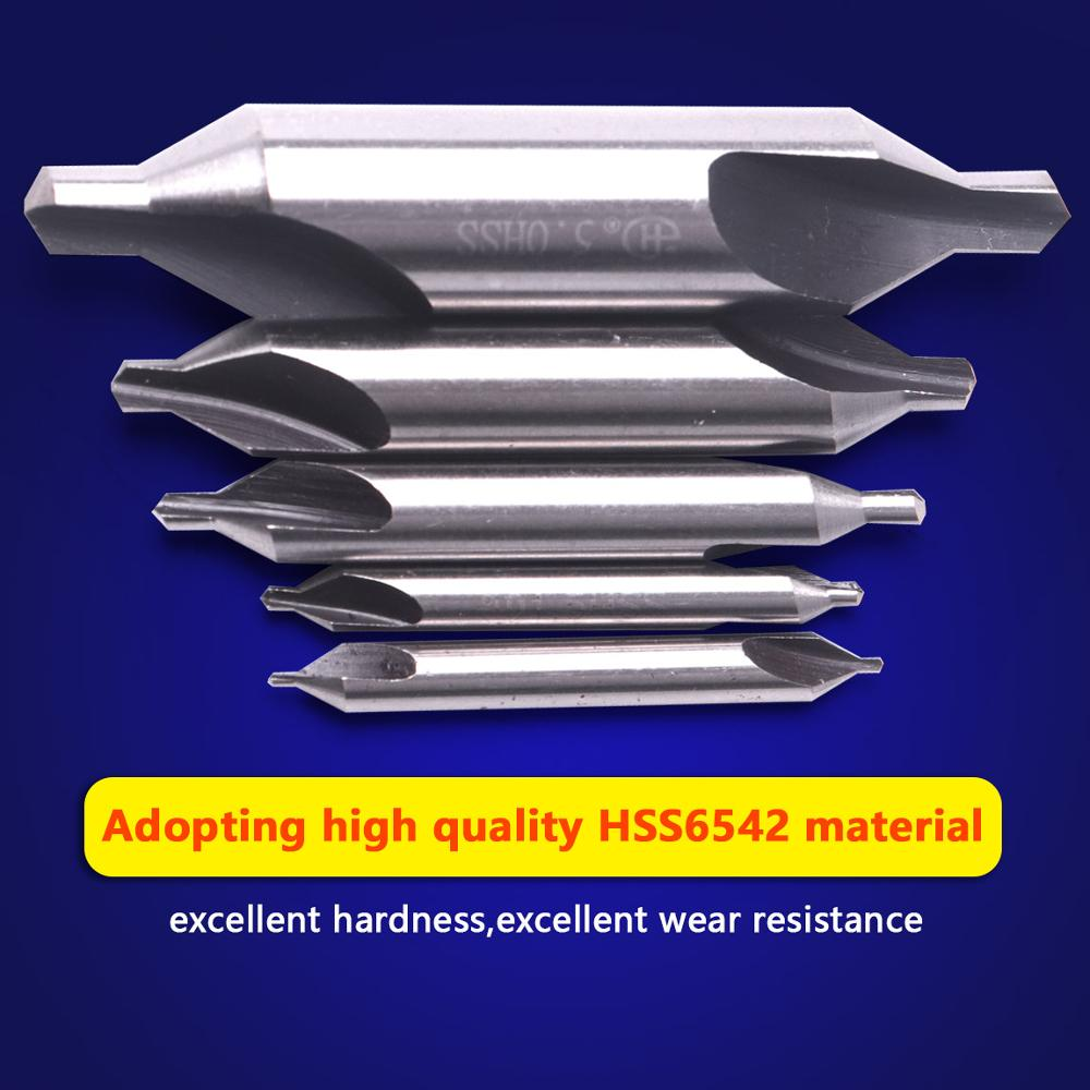 High Quality 5Pcs HSS Center Drill Bits Set 1# 1.5# 2.5# 3.15# 5# Accurate Positioning 60 Degree Metal Countersink Center Drills