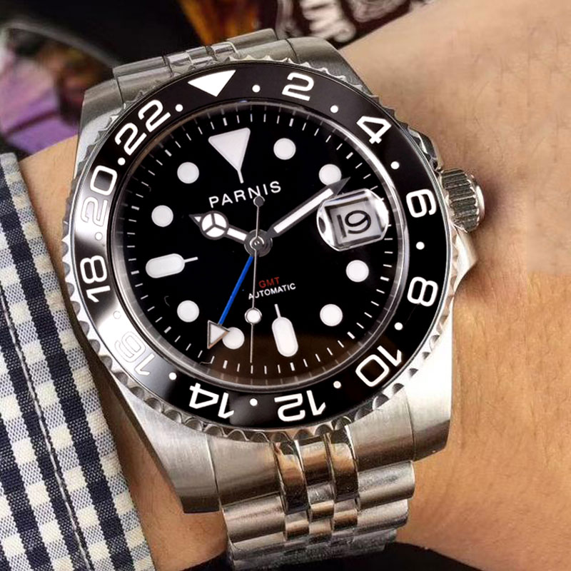 2018 New Arrival 40mm Parnis black dial luminous markers Stainless steel case GMT Automatic movement Men's business Watch